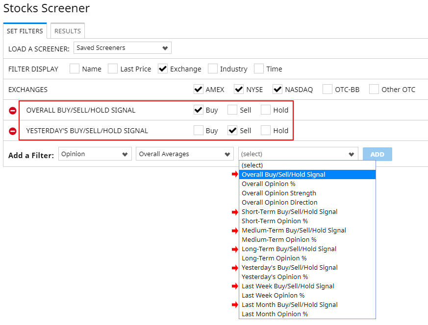 Barchart Opinion Filters in Screeners