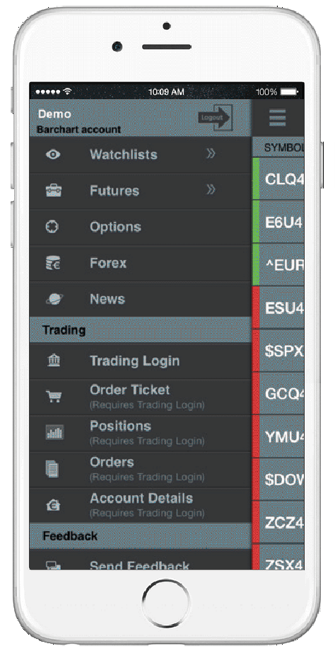 Barchart Trader for iPhone